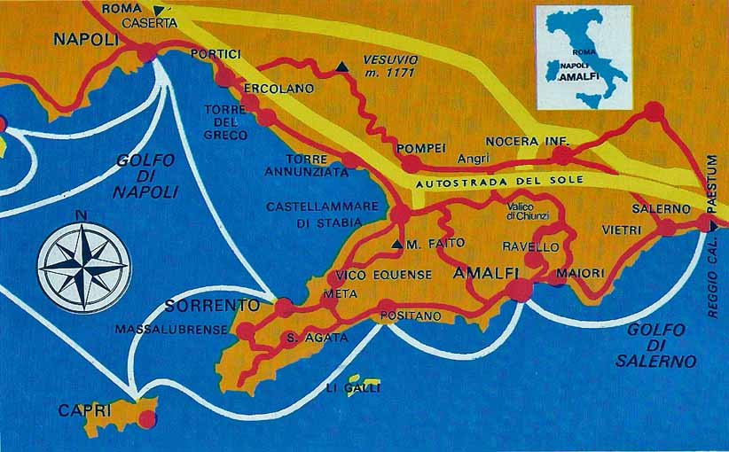 Amalfi coast and Sorrento Map